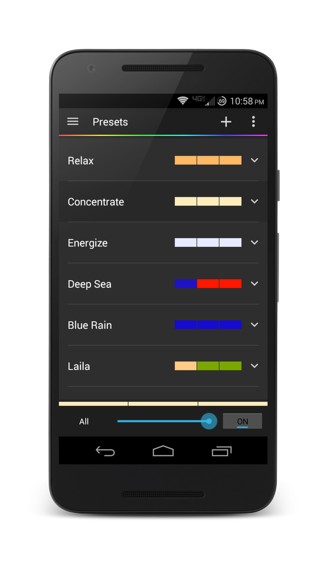 how to change hue light preset